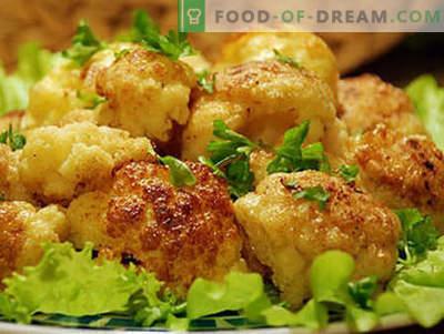 Ziedkāposti plakanos - labākās receptes. Kā pareizi un garšīgi pagatavoti ziedkāposti ar mīklu.