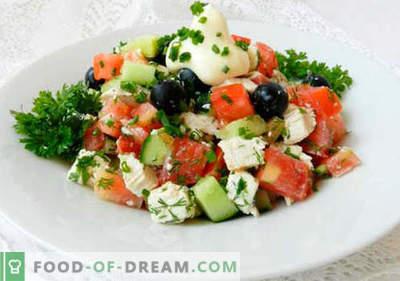 Salāti ar olīvām - labākās receptes. Kā pareizi un garšīgi pagatavot salātus ar olīvām.