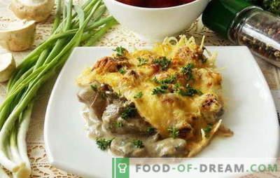 Dažādas vistas aknu receptes ar sēnēm. Ko var pievienot ēdieniem no vistas aknām ar sēnēm: dārzeņi, krējums, krējums