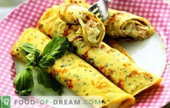 Pankūkas ar sieru, zaļumiem, šķiņķi, vistas gaļu ar pienu un kefīru. Populāras receptes pankūkas ar sieru