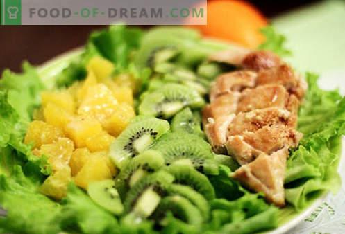 Kiwi salāti - labākās receptes. Kā pareizi un garšīgi pagatavoti salāti ar kivi.