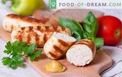 Cârnați delici și suculenți din carne de pui tocată. Rețete simple pentru fabricarea cârnaților de casă din carne de pasăre tocată