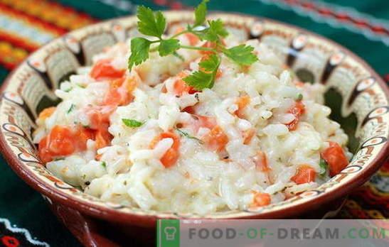 Rīsi ar burkāniem - vienmēr draudzīgi! Saldie un pikanti, cepti, vārīti un cep - rīsu ēdieni ar burkāniem: labākās receptes