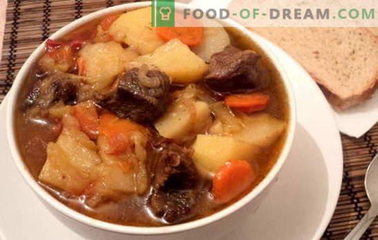 sautējums ar kartupeļiem un gaļu - apmierinošs un veselīgs. Dažādas receptes sautējumu gatavošanai ar kartupeļiem un gaļu: vienkāršas un sarežģītas