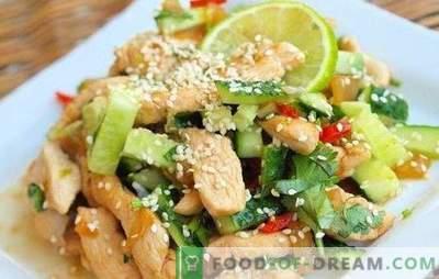 Salāti ar vistas krūtiņu un gurķiem - uzkoda, kas nav kauns, lai ārstētu. Labākās receptes salātiem ar vistas krūtiņu un gurķi