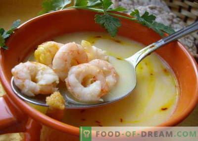 Kreveti supp - parimad retseptid. Kuidas õigesti ja maitsev kokk supp krevettidega.