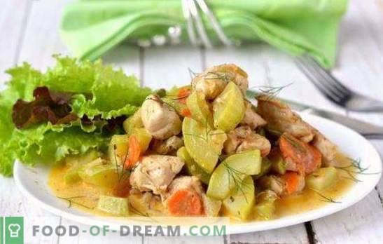 Vistas gaļa ar cukini ar lēnu plītiņu - garšīga kombinācija. Labākās vistas gaļas receptes ar cukini ar lēnu plīti: cepeti, rīsi un sēnes