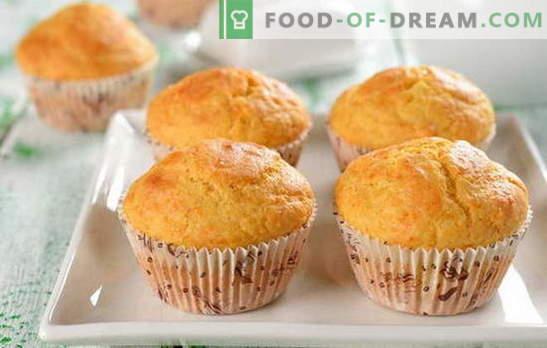 Ātri cupcake - mēs baudām garšīgus! Ātri smalkmaizītes receptes: šokolāde, rozīnes, halva, konfektes, kanēlis
