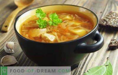 Receptes zupām no svaigiem kāpostiem, kāpostu zupām, borscht. Zivis un gaļa,