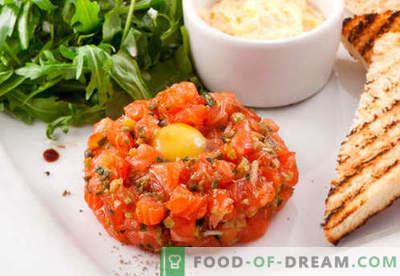 Lašu tartars - labākās receptes. Kā pareizi un garšīgi pagatavot laša tartarus.