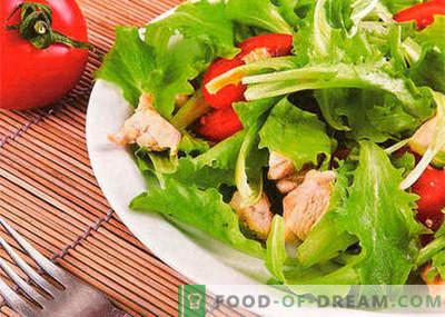 Salāti ar vistu un tomātiem - labākās receptes. Kā pareizi un garšīgi sagatavot salātus ar vistu un tomātiem.