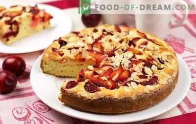 Pīrāgs ar āboliem un plūmēm - augļu brīnums! Receptes mājās gatavotām kūkām ar āboliem un plūmēm no dažādiem mīklas veidiem