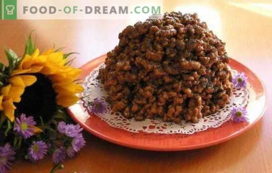 Kukurūzas nūjiņas Cake - gaisīgs deserts uz dažām minūtēm. Kukurūzas kūkas ar kondensētu pienu, riekstiem, augļiem