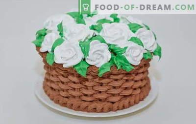 Варијации на масло, крем и пудра во креми за торта дома. Готвење брзо и едноставно крем за домашна колачи