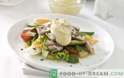 Salāti ar olu un majonēzi. Oriģinālas tortes un vienkāršu salātu salāti ar olām un majonēzi