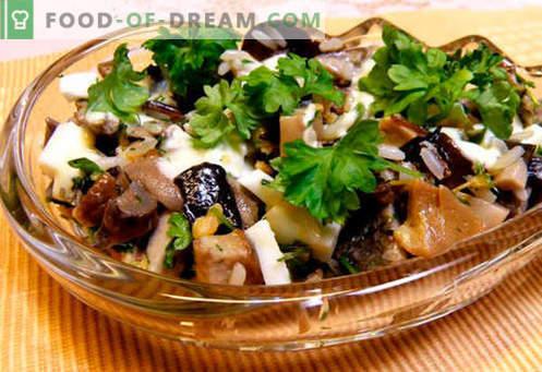 Salāti ar marinētiem šampinjoniem - piecas labākās receptes. Kā pagatavot salātus ar marinētiem šampinjoniem pareizi un garšīgi.