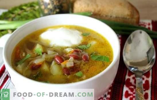Zupa ar pupiņām - tradicionāls karstais ēdiens jaunā variantā. Labākās kāpostu zupas receptes ar pupiņām, kāpostiem, baklažāniem, sēnēm