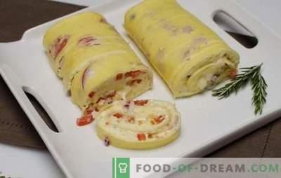 Omlete rullis ar pildījumu - nav pārsteigums ir vienkāršs un skaists! Receptes ātri garšīgi, smaržīgi omlete ruļļi ar pildījumiem