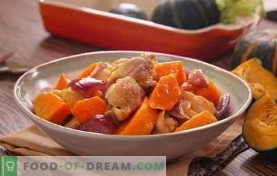 Vistas gaļa ar ķirbju cepeškrāsnī - mājputnu ēdienos bez problēmu. Cepiet cepeškrāsnī ceptu veselu vai sagrieztu vistu ar ķirbju