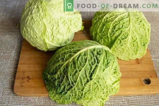 Vegetarian steamed cabbage rolls from savoy cabbage